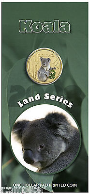 2008 Land Series $1 pad printed KOALA coin in card ALWAYS POPULAR!
