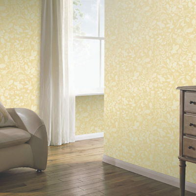 Arthouse Country Folk Floral Butterflys Birds Wallpaper Yellow 697301