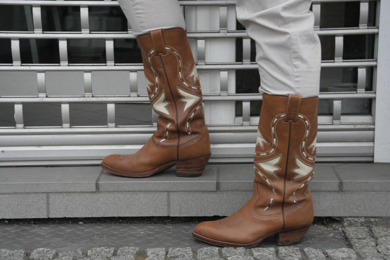 Mora CUSTOM Boots tg. 8,5 Pelle True Vintage 90s Vera Pelle 8,5 Stivali Di Pelle Stivali cowboy a90aee