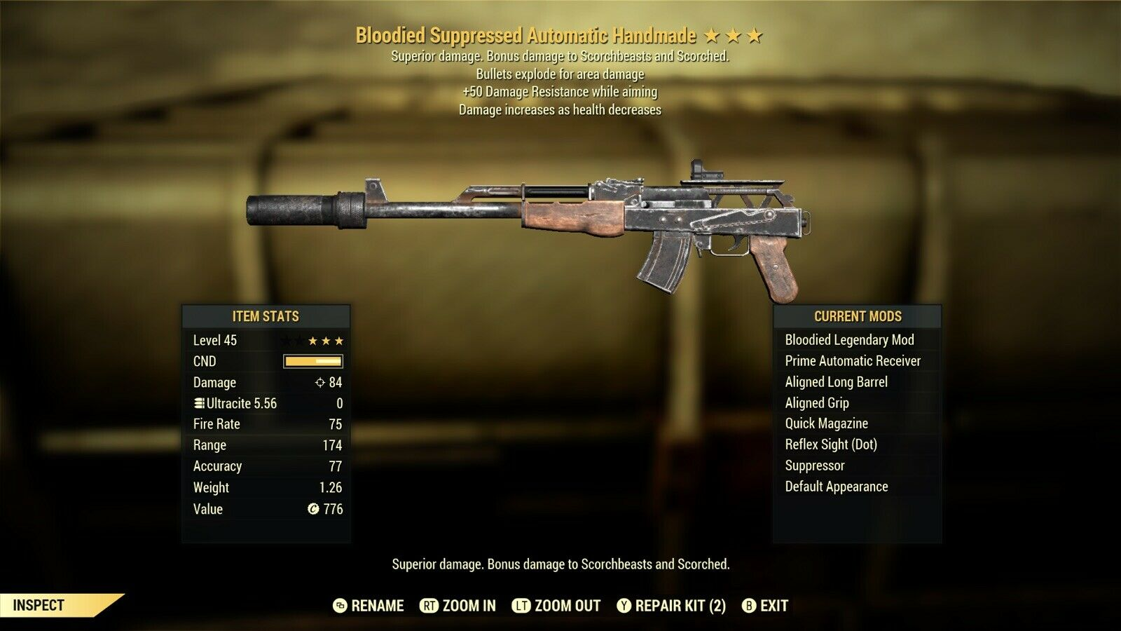 Bloodied Explosive +50 DRWA Handmade fallout 76 xbox one