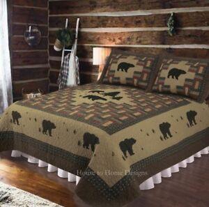 BLACK BEAR LODGE 2pc Twin Quilt Set Reversible Mountain Cabin Moose Rustic Snow