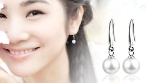 Silver & Pearl Drop Earrings 10mm Wedding Bridesmaid Present Favour Uk Stocked