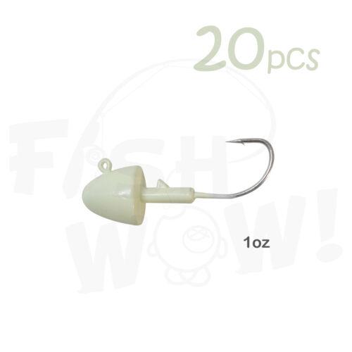 20pcs 1oz Fishing Bullet Jig Head Glow in the dark for Grub Swim Bait Saltwater
