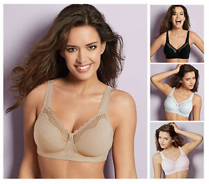 1767c27d489 Details zu Bestform Cotton Comfort Non Wired Soft Cup Bra 535 Black, White,  Pink, Nude