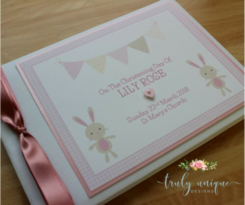 BELLE BUNNY Personalised Christening/Baptism Guest Book Photo Album Pink Girl
