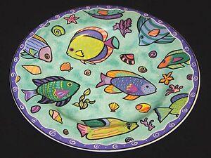 1996-1998-SAKURA-Stoneware-SUE-ZIPKIN-CARIBBEAN-WAVE-8-1-2-Salad-Dessert