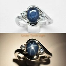 8x6mm Natural 6 Ray Deep Blue Star-Sapphire Ring in 925 Sterling Silver