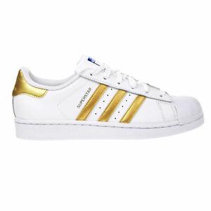 Details about Adidas Originals Superstar J Big Kids Casual Shoes White-Gold-Blue b39402