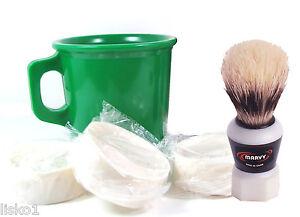 Marvy #923 Shave Kit - Mug Brush - Green Shave Mug - 3 - Cake Soaps