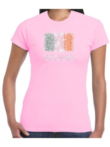 Ireland T Shirt Irish Flag Sparkling Diamante Rhinestones St Patricks Ladies Top