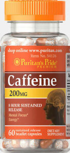 Puritan-039-s-Pride-Caffeine-200-mg-8-Hour-Sustained-Release-60-Capsules-free-ship