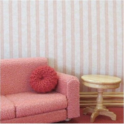 Dolls house wallpaper 2 x large sheets PEACH&PINK [153]