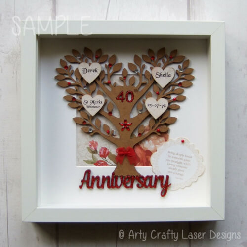 "MDF 40th Wedding Anniversary /""Ruby/"" Family Tree Craft Blank"