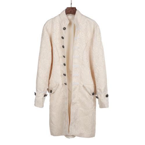 Men Costume Uniform Victorian Frock Coat Gothic Steampunk Long Vintage Tailcoat