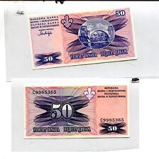 BOSNIA 50 DINARA CURRENCY NOTE CU 8520F