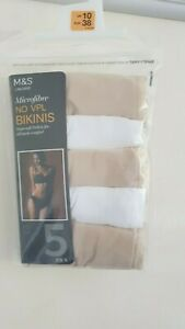 Trustful Bnwt Ex M&s No Vpl Bikinis - 5 Pack - Size 10, 12 & 20 A Great Variety Of Models