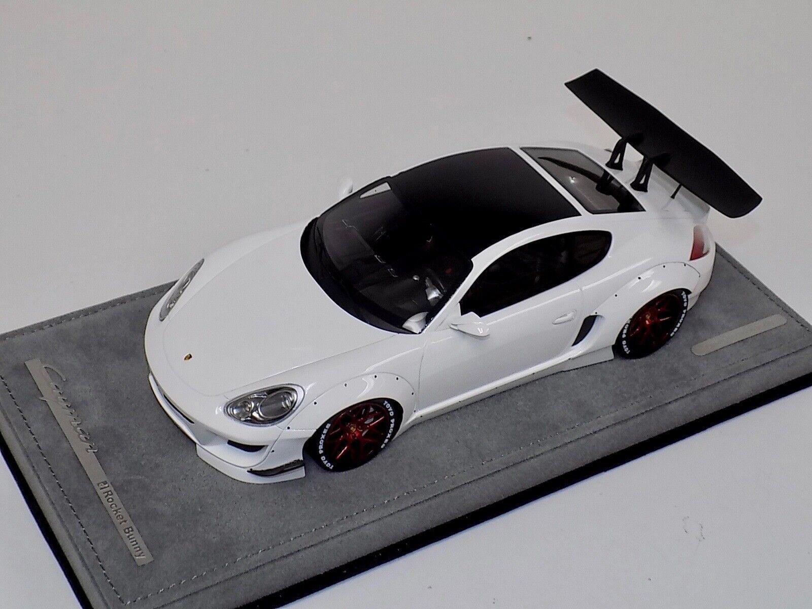1 18 ab modelos Porsche Cayman Rocket Conejito biancao sin calcomanías Alcantara rosso ruedas