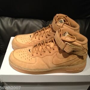 competitive price fa7ba 0f76d Image is loading NIKE-AIR-FORCE-1-ONE-MID-WHEAT-FLAX-