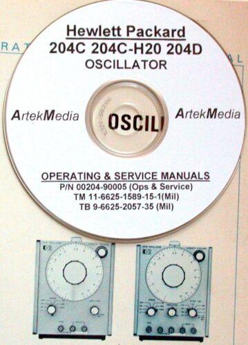 HP Hewlett Packard 204 C 204C-H20 204D Oscillateur Service /& Manuel de fonctionnement