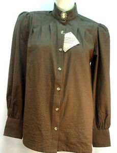 Victorian-Frontier-Classics-Vintage-style-Brown-blouse-S-3X-with-free-brooch