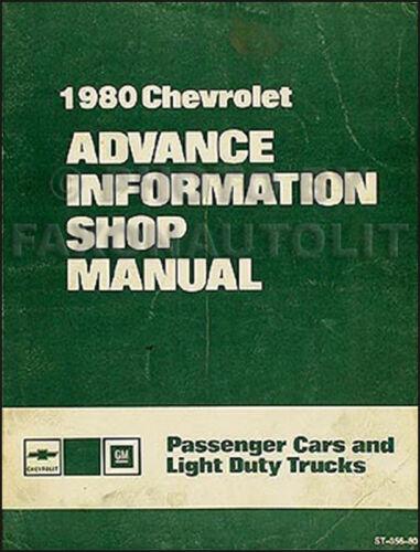 1980 Chevy Advance Shop Manual Impala Camaro Corvette Monte Carlo Malibu Pickup