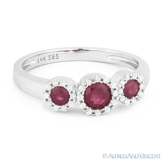0.54ct Round Cut Red Ruby & Diamond Pave Three-Stone Halo Ring in 14k White gold