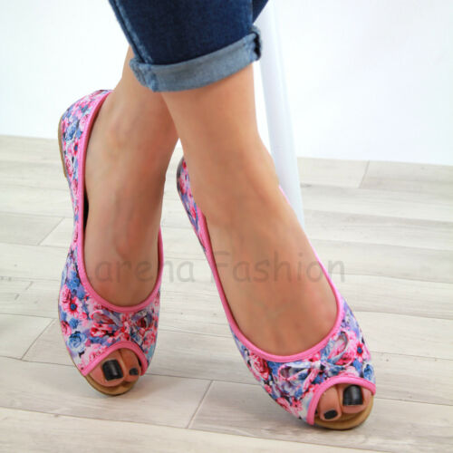 New Womens Flat Peep Toe Pumps Bow Slip On Plimsolls Ballerinas Casual Shoes