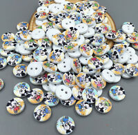 DIY 100pcs Mini Mickey Wooden Buttons Fit Sewing scrapbooking decoration 11.5mm