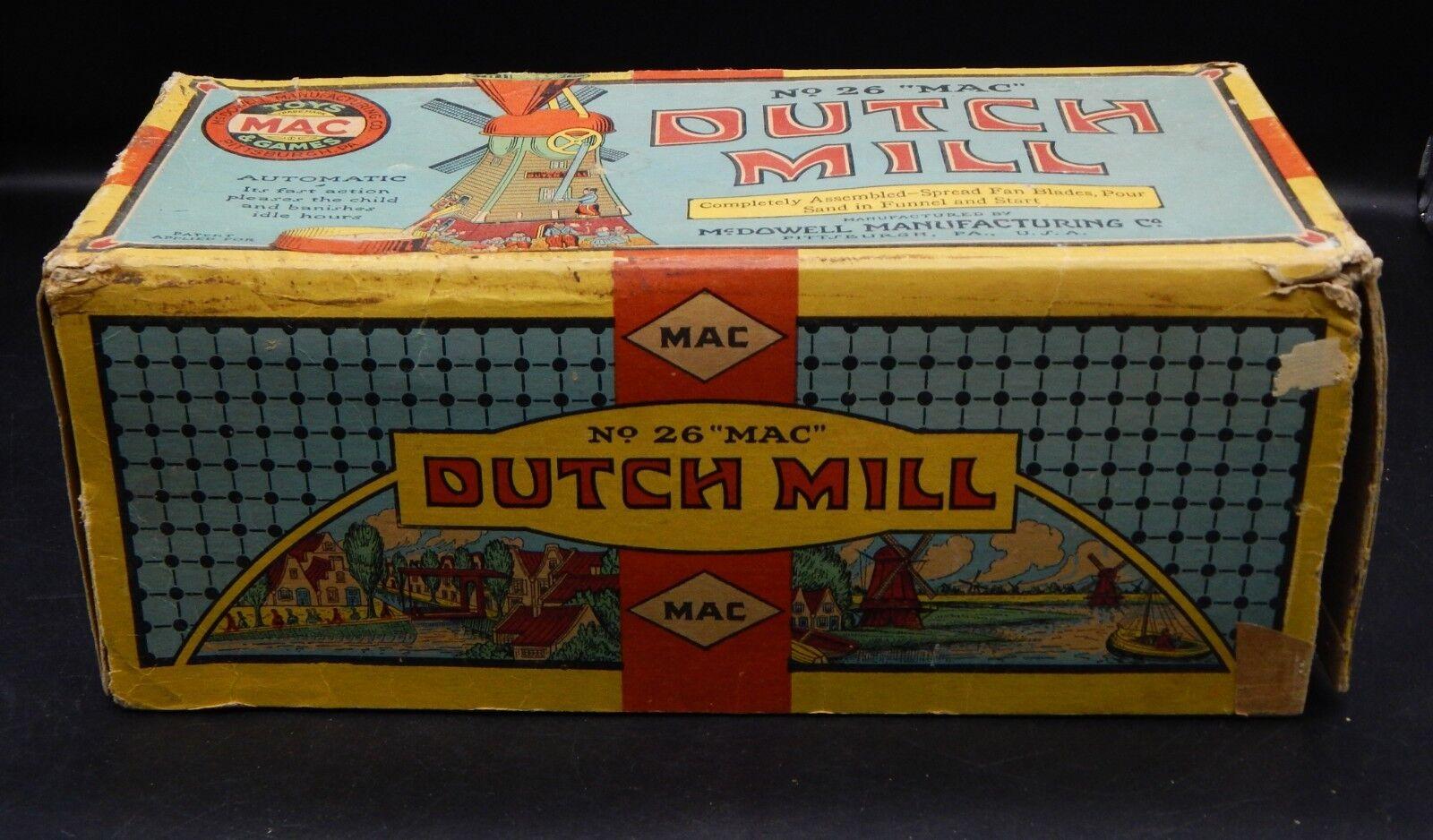 1920s vintage vintage vintage MAC toys DUTCH MILL tin toy sand mill w  original box & sand NICE  85ee20