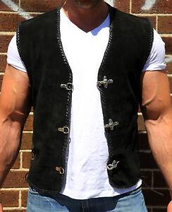 Suede-Vest-for-Biker-Harley-Rider-Premium-Grade-Metal-Clasps-Sons-of-Anarchy