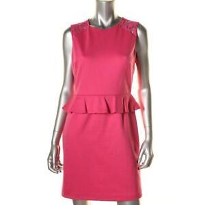 ff9a40b974166 Details about Cynthia Steffe Pink Ponte Peplum Sleeveless Lace Detail Open  Back Dress 8 - NEW