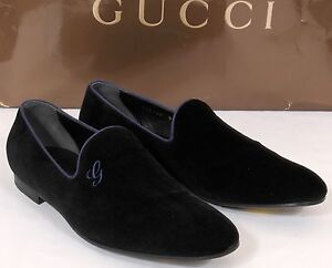 new gucci signature black velvet loafers formal shoes