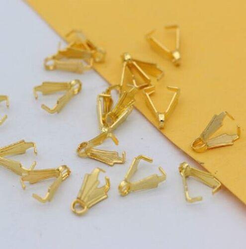 40 Piezas Chapado en Oro Bolas De Pellizco tamaño 5 X 8mm Bricolaje Broches ajusta 10-14mm Colgantes
