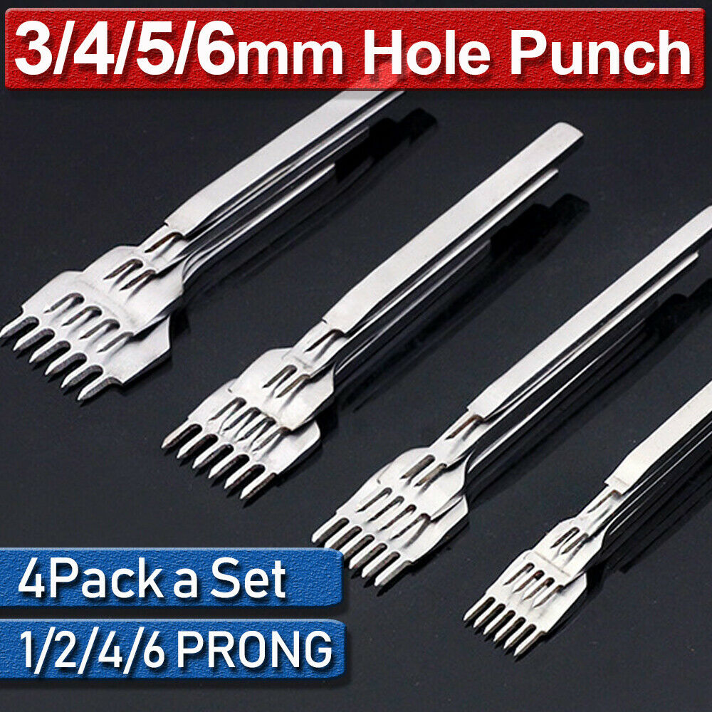 3Pcs Prong Chisel Black Tool Steel Hole Punch DIY Hand-Made Leather Puncher Tool