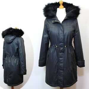 M-amp-S-Waxy-WARM-LINED-Hooded-PARKA-COAT-Var-Sizes-CARBON-Grey
