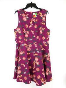 Fervor-Fit-amp-Flare-Vestido-Purple-Floral-sin-Mangas-ModCloth-Talla-XL