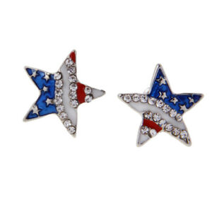 USA-American-Flag-Patriotic-Red-Blue-Star-Earrings-Ear-Studs-Jewelry