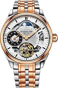 Stuhrling-Men-039-s-Skeleton-Rose-Case-Silver-Dial-Rose-amp-Silver-Bracelet-Watch