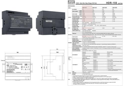 Hutschienen Netzteil HDR-150 Mean Well 12V 15V 24V 48V 150 Watt DIN-Rail LED