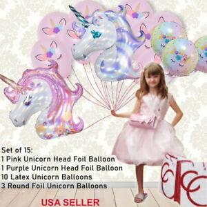 15-pcs-Licorne-tete-feuille-Latex-Ballons-Rose-Violet-gt-Baby-Shower-Fete-D-039-Anniversaire