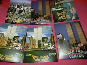 6 Vintage Unused New York City Twin Towers World Trade Center Postcard Lot- NYC