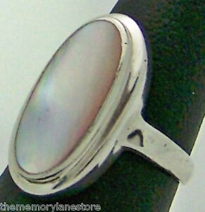Beautiful Large Estate Mother Of Pearl Sterling Silver