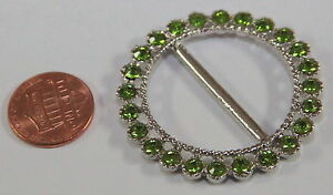"ONE Round Silver Tone Metal Green Rhinestone Buckle 1 3/4"" 45mm # 5653"