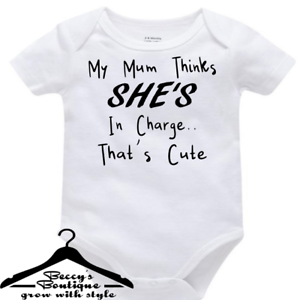 Funny-Rude-Custom-Baby-Grow-Vest-Bodysuit-Mum-Thinks-Shes-In-Charge