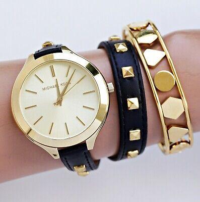 Original Michael Kors Wrist Watch Women's mk2317 Runway Gold Double Wrap New 796483036703 | eBay