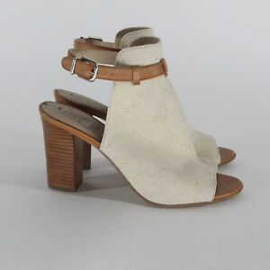 Via-Spiga-Fabrizie-2-Tan-Canvas-Open-Toe-Heels-Mules-Womens-Size-10-M