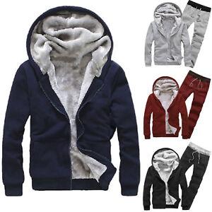 Mens-Winter-Tracksuit-Warm-Hooded-Fleece-Jacket-Hoodie-Long-Pants-Sports-Suits