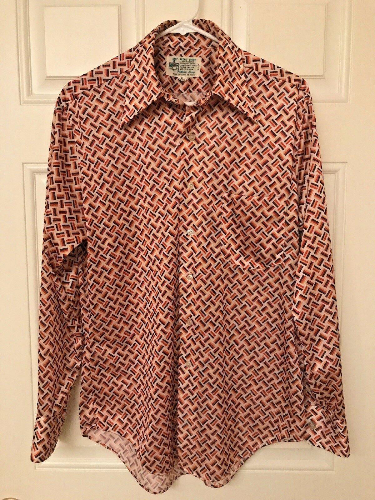 Knit Sport Shirt 70's Disco orange Geometric Made in Korea Medium 15-15 1 2