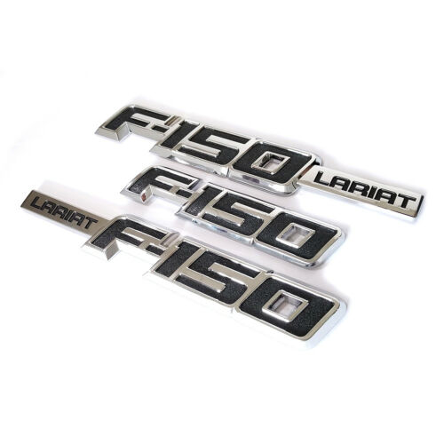 3x OEM F-150 Lariat Side Fender Emblem Rear Badge 3D Ford F150 F Chrome black