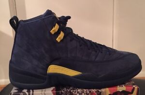 on sale 4d731 5013c Image is loading Air-Jordan-Retro-12-XII-Michigan-QS-Navy-